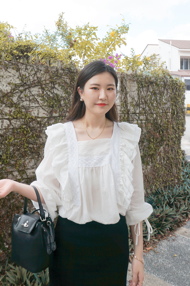 Lace Square Neck Blouse