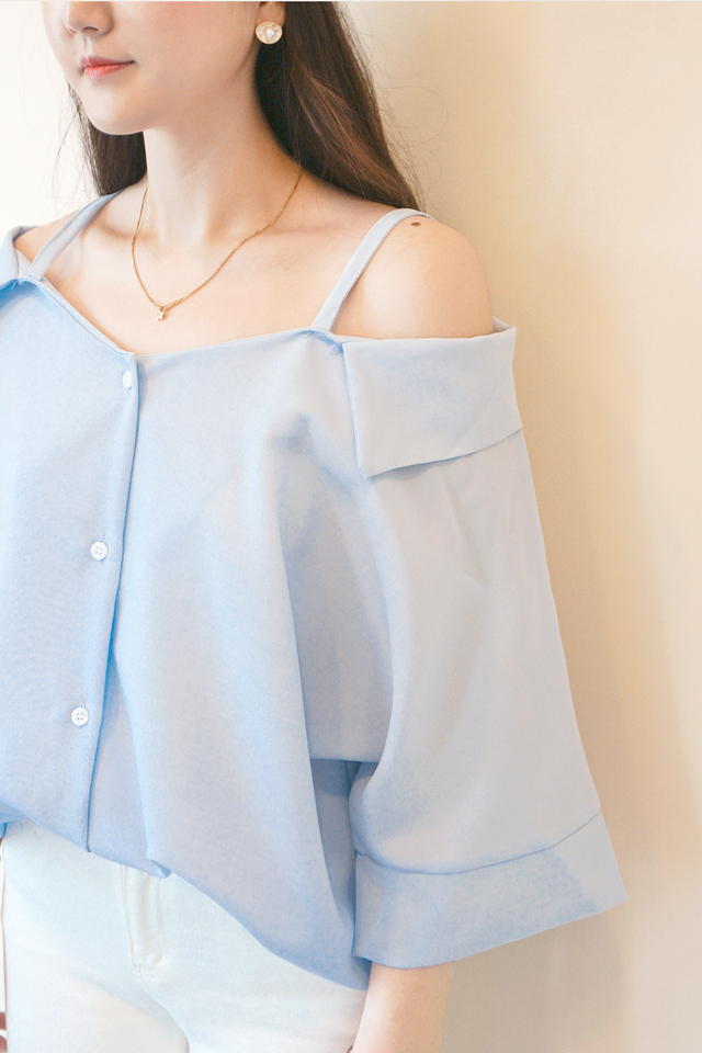 Blue Off Shoulder Shirt