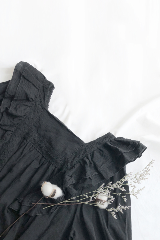 Black Square Neck Blouse
