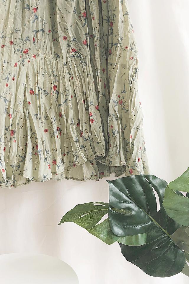 Green Floral Printed Maxi