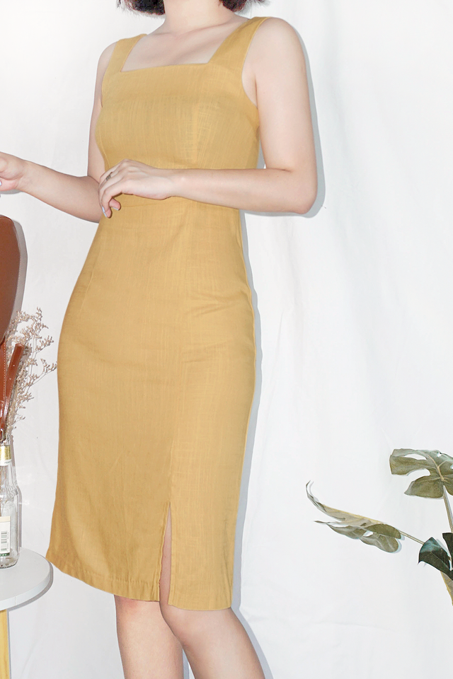 Mustard Fitted Midi Dress