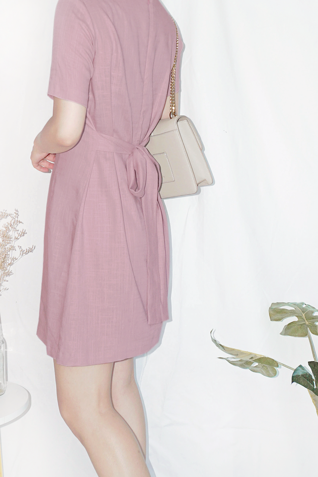 Dusty Pink Self-Tie Dress