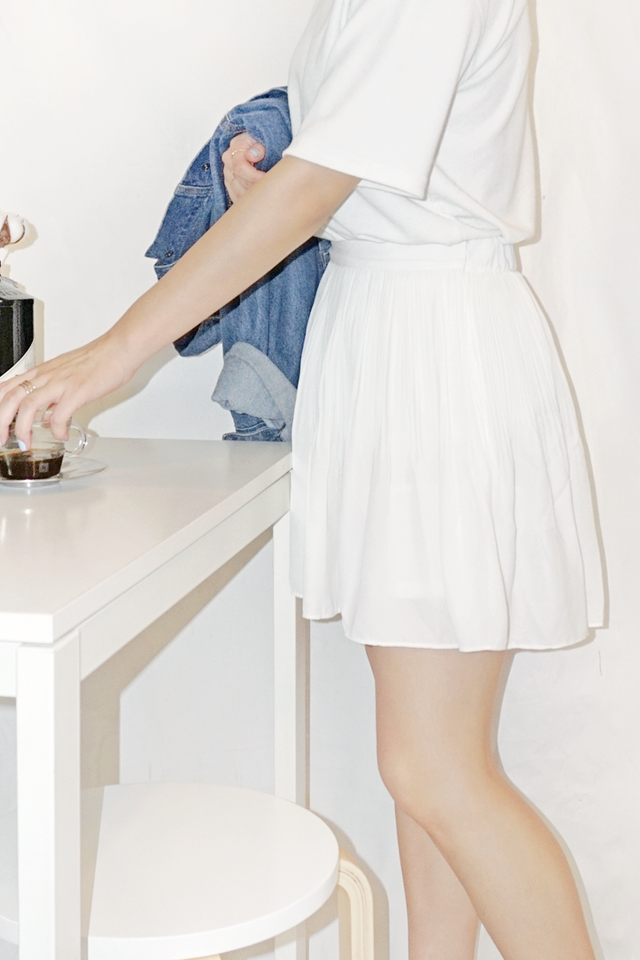 White Pleated Skorts